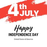 Happy Independence Day patriotic card. Flat vector holiday 4th of July illustration. Fourth of July the Independence Day patriotic flat vector illustration card Stock Photo