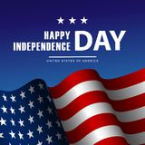 Fourth of July Independence Day poster or card template. With american flag royalty free illustration