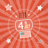 Fourth July 1776 Independence Day. Red Retro Background Stock Photos
