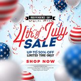 Fourth of July. Independence Day Sale Banner Design with Balloon on Confetti Background. USA National Holiday Vector. Illustration with Special Offer Typography Vector Illustration