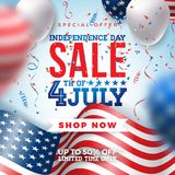 Fourth of July. Independence Day Sale Banner Design with Balloon and Flag on Confetti Background. USA National Holiday. Vector Illustration with Special Offer Vector Illustration