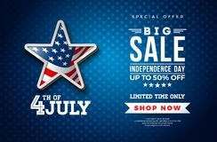 Fourth of July. Independence Day Sale Banner Design with Flag in 3d Star on Dark Background. USA National Holiday Vector. Illustration with Special Offer Royalty Free Illustration