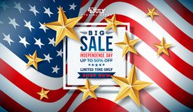 Fourth of July. Independence Day Sale Banner Design with Gold Stars on Flag Background. USA National Holiday Vector. Illustration with Special Offer Typography Vector Illustration