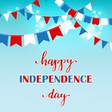 Fourth of July independence day. 4th of July independence day card, poster or banner design. USA flag in a shape of heart and lettering text in national stock illustration