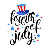 Fourth of July - Independence day of United States of America - festive  calligraphy with different holiday symbols isolated. On white background. Vector Stock Photo