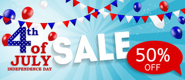 Fourth of July, Independence day of the United States Sale Banne Royalty Free Stock Photos