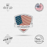 Fourth of July Independence Day USA badges logos and labels for any use. On a white background Stock Images
