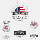 Fourth of July Independence Day USA badges logos and labels for any use. On a white background Royalty Free Stock Image