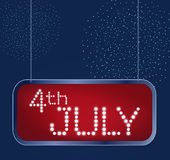 Fourth of July Independence Day USA. Designed in american flag colors with firework in shining retro light banner. Design for fourth of July Independence Day Royalty Free Stock Photo