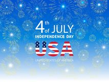 Fourth of July Independence Day of the USA. Fireworks on Independence Day. Greeting card. Vector illustration vector illustration