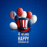 Fourth of july independence day of the usa. Holiday background with patriotic american signs - president`s hat, balloons Royalty Free Stock Photo