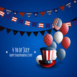 Fourth of july. Independence day of the USA. Holiday background with patriotic american signs - president`s hat Stock Photo