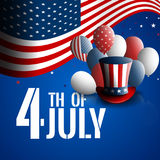 Fourth of July. Independence day of the USA. Holiday background with patriotic american signs - president`s hat Stock Image