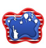 Fourth of July Independence Day of the USA, Statue of Liberty, Ballons, Confetti. Cut Paper Style Stock Images