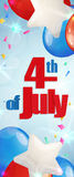 Fourth of July, Independence Day vertical banner. Happy 4th of July, Independence Day greeting card vertical banner with baloons. Happy July Fourth. Vector Royalty Free Stock Image
