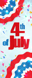 Fourth of July, Independence Day vertical banner. Happy 4th of July, Independence Day greeting card vertical banner with a cracker and confetti, paper patriotic Stock Images