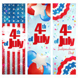 Fourth of July, Independence Day vertical banner. Happy 4th of July, Independence Day, set of greeting cards vertical banners. Happy July Fourth. Vector Royalty Free Stock Photography