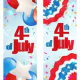 Fourth of July, Independence Day vertical banner. Happy 4th of July, Independence Day, set of greeting cards vertical banners. Happy July Fourth. Vector Stock Image