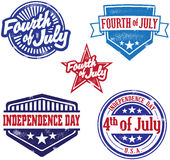 Fourth of July Indpendence Day Stamps. A collection of vintage style Fourth of July graphics Stock Photo