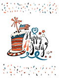 Fourth of July Lettering with striped cake. Fourth of July Vector lettering and striped cake royalty free illustration
