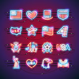 Fourth of July Neon Signs. Set of Fourth of July neon signs makes it quick and easy to customize your USA Independence Day project. Used neon vector brushes Royalty Free Stock Photo