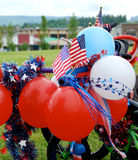 Fourth of July Parade Balloons. Festive decorations on child`s bike for 4th July Parade stock photos