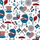 Fourth of July Party and memorial day icons. Seamless pattern. Fourth of July Party and memorial day icons Stock Photo