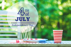 Fourth of July party table setting outside Stock Photography