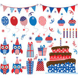 Fourth of July Patriotic Owls party set Royalty Free Stock Photo