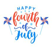Fourth of July poster with hand written ink lettering. United States of America Independence day typographic design for banner, brochure, greeting card Royalty Free Stock Photo
