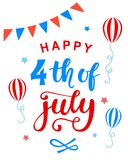 Fourth of July poster with hand written ink lettering. United States of America Independence day typographic design for banner, brochure, greeting card Royalty Free Stock Photos