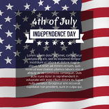 Fourth of July poster. Independence day greeting card. Vector template, isolated, eps10 Royalty Free Stock Photo