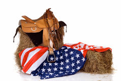 Fourth of July saddle and flag Stock Image
