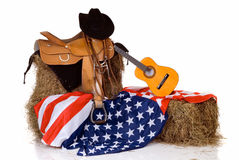 Fourth of July saddle and flag Royalty Free Stock Images