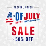 4th Of July USA, Independence Day Sale promotion background. Fourth of july sale flyer, Discount special offer -50% off. Online Sale vector banner royalty free illustration