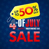4th Of July USA, Independence Day Sale promotion banner. Fourth of july sale flyer, Discount special offer up to 50% off on yellow label. Online store, Sale vector illustration