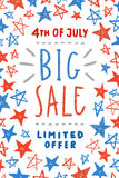 Fourth of July sale poster design. Independence Day card template with amazing glitter stars. Vector illustration Royalty Free Stock Photos