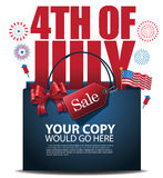 Fourth of July Sale shopping bag background EPS 10 vector Stock Photography