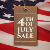 Fourth of July sale. Vintage, realistic price tag Stock Photo