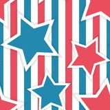 Fourth of July seamless vector pattern with stripes and stars vector illustration