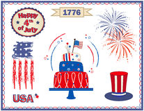 Fourth of July Set. Fourth of July clip art with fireworks, cake, stylized flag and more. Eps10 Royalty Free Stock Photos