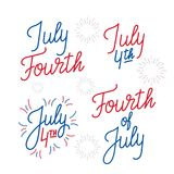 Fourth of July. Set of lettering logo`s for 4th of July, USA Independence Day.  Royalty Free Stock Images