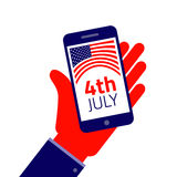 fourth july Smartphone σε διαθεσιμότητα Στοκ εικόνα με δικαίωμα ελεύθερης χρήσης