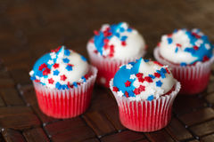 Fourth of July Star Cupcakes Royalty Free Stock Photos