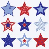 Fourth of July Stars. A set of red, white and blue stars Stock Photo