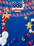 Fourth of July. 4th of July holiday banner.card template, badge. With red ribbon and American flag. Vector illustration stock illustration
