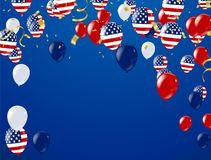 Fourth of July. 4th of July holiday banner, Celebration Banner. National American Greeting. Vector with American flags, balloons, petards, confetti, streamers Royalty Free Illustration