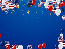 Fourth of July. 4th of July holiday banner, Celebration Banner. National American Greeting. Vector with American flags, balloons, petards, confetti, streamers Vector Illustration