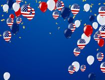 Fourth of July. 4th of July holiday banner, Celebration Banner. National American Greeting. Vector with American flags, balloons, petards, confetti, streamers Stock Illustration