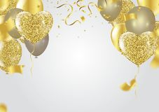 Fourth of July. 4th of July holiday banner. Golden balloons in t. He shape of a heart on a background Royalty Free Stock Photos